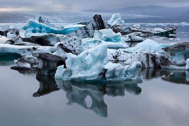 Calving glaciers in Jokulsarlon lagoon in Iceland.
