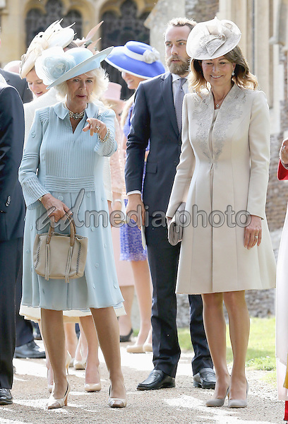 05 July 2015 - King's Lynn, United Kingdom - Camilla Duchess of Cornwall, James Middleton and Carole Middleton. The Christening of Princess Charlotte of Cambridge at the Church of St Mary Magdalene on the Sandringham Estate. Photo Credit: Alpha Press/AdMedia
