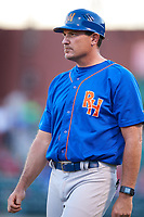 Midland RockHounds manager Fran Riordan (39) during a game against the Arkansas Travelers on May 25, 2017 at Dickey-Stephens Park in Little Rock, Arkansas.  Midland defeated Arkansas 8-1.  (Mike Janes/Four Seam Images)