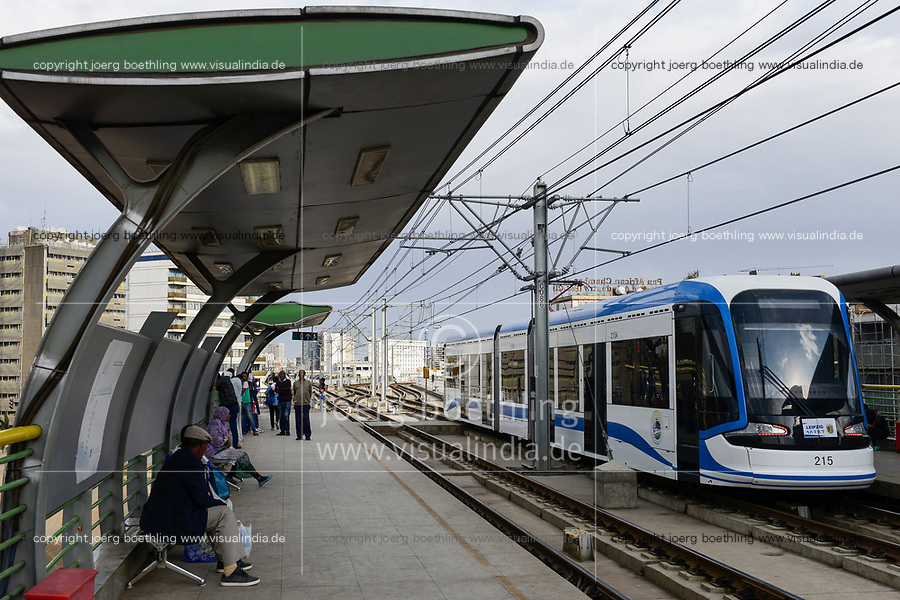 ETHIOPIA , Addis Ababa, LRT Light rail transport, blue line, build by chinese company  / AETHIOPIEN, Addis Abeba, Stadtbahn Linie, gebaut durch chinesische Firma