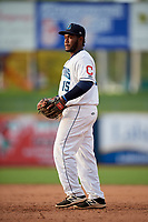 Lake County Captains first baseman Jose Vicente (15) during the first game of a doubleheader against the South Bend Cubs on May 16, 2018 at Classic Park in Eastlake, Ohio.  South Bend defeated Lake County 6-4 in twelve innings.  (Mike Janes/Four Seam Images)