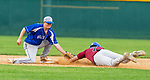 WATERBURY, CT 071221JS19 Wallingford Silver Storm's Jack Boucher (7) tags out Brass City Bombers'  Josh Taylor (7) at second base during their Connecticut Collegiate Baseball League game Monday at Municipal Stadium in Waterbury. <br />  Jim Shannon Republican American