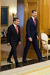 King Felipe VI of Spain receive the president of the republic of Perú, Sr. Ollanta Humala Tasso, y Sra. Nadine Heredia Alarcón at Zarzuela Palace in Madrid, Spain. July 07, 2015.<br />  (ALTERPHOTOS/BorjaB.Hojas)