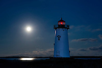 Moon lit Edgartown Lighthouse, Martha's Vineyard, Massachusetts, USA