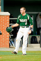 Brett Lang (6) of the Charlotte 49ers prepares to flip his helmet as he heads towards home plate after hitting a walk-off solo home run on the first pitch in the bottom of the 9th inning against the Virginia Commonwealth Rams at Robert and Mariam Hayes Stadium on March 30, 2013 in Charlotte, North Carolina.  The 49ers defeated the Rams 9-8 in game one of a double-header.  (Brian Westerholt/Four Seam Images)