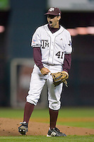 Relief pitcher Travis Starling #41 of the Texas A&M Aggies reacts after recording the final out versus the Houston Cougars in the 2009 Houston College Classic at Minute Maid Park March 1, 2009 in Houston, TX.  The Aggies defeated the Cougars 5-3. (Photo by Brian Westerholt / Four Seam Images)