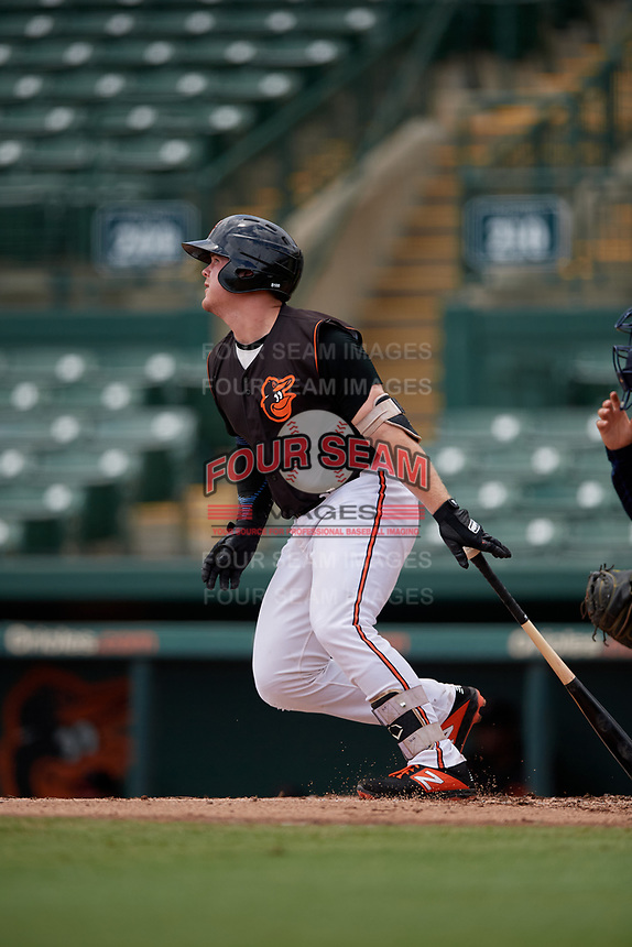 GCL Orioles Harris Yett (17) bats during a Gulf Coast League game against the GCL Braves on August 5, 2019 at Ed Smith Stadium in Sarasota, Florida.  GCL Orioles defeated the GCL Braves 4-3 in the second game of a doubleheader.  (Mike Janes/Four Seam Images)