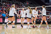 STANFORD, CA - November 15, 2017: Kathryn Plummer, Meghan McClure, Jenna Gray, Audriana Fitzmorris, Merete Lutz, Morgan Hentz at Maples Pavilion. The Stanford Cardinal defeated USC 3-0 to claim the Pac-12 conference title.