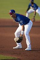 Kannapolis Cannon Ballers first baseman Sam Abbott (24) on defense against the Down East Wood Ducks at Atrium Health Ballpark on May 8, 2021 in Kannapolis, North Carolina. (Brian Westerholt/Four Seam Images)