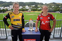 Blaze captain Maddy Green (left) and Magicians captain Frances McKay. 2021 Super Smash Wellington v Canterbury Men's and Women's Double-Header captains call at the Basin Reserve in Wellington, New Zealand on Friday, 12 February 2021. Photo: Dave Lintott / lintottphoto.co.nz