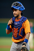 St. Lucie Mets catcher Ali Sanchez (25) during a game against the Clearwater Threshers on August 11, 2018 at Spectrum Field in Clearwater, Florida.  St. Lucie defeated Clearwater 11-0.  (Mike Janes/Four Seam Images)