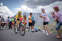 Yellow Jersey Julian Alaphilippe (FRA/Deceuninck Quick Step) up the Col du Galibier (HC/2622m/23km@5.1%)<br /> <br /> Stage 18: Embrun to Valloire (208km)<br /> 106th Tour de France 2019 (2.UWT)<br /> <br /> ©kramon