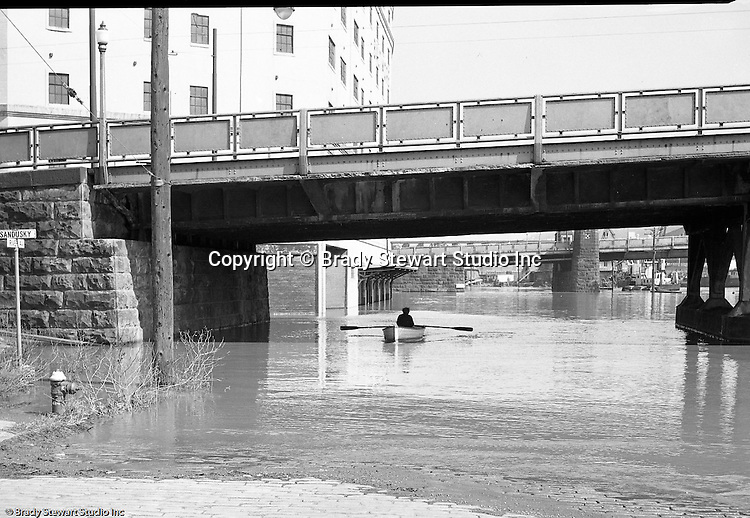 Pittsburgh PA:  Allegheny River floodwaters along the North Side by the 7th Street Bridge and Sandusky Street.