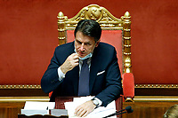Italian premier Giuseppe Conte wearing a face mask  after his speech to inform the Senate about the last Covid-19 decree.<br /> Rome (Italy), October 21st 2020<br /> Photo Samantha Zucchi Insidefoto