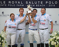 WELLINGTON, FL - MAY 04: Melissa Ganzi, Prince Harry, Malcolm Borwick, Bob Jornayvaz participates in the Sentebale Polo Cup Presented By Royal Salute World Polo and held at Valiente Polo Farm In Wellington Florida With Prince Harry on May 4, 2016 in Wellington, Florida.<br /> <br /> People:  Melissa Ganzi, Prince Harry, Malcolm Borwick, Bob Jornayvaz