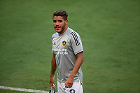 LOS ANGELES, CA - AUGUST 22: Jonathan dos Santos #8 of the Los Angeles Galaxy warming up before a game between Los Angeles Galaxy and Los Angeles FC at Banc of California Stadium on August 22, 2020 in Los Angeles, California.