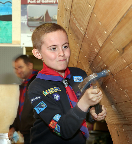 Daniel Concannon of Port of Galway Sea Scouts hammers in a nail on the Loveen