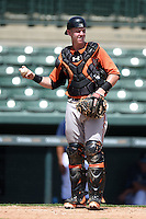 Baltimore Orioles catcher Chance Sisco (56) during an Instructional League game against the Tampa Bay Rays on September 15, 2014 at Ed Smith Stadium in Sarasota, Florida.  (Mike Janes/Four Seam Images)