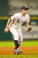 Rice Owls third baseman Shane Hoelscher #2 on defense against the Texas Longhorns at Minute Maid Park on March 2, 2012 in Houston, Texas.  The Longhorns defeated the Owls 11-8.  (Brian Westerholt/Four Seam Images)