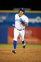 Dunedin Blue Jays left fielder Connor Panas (27) rounds the bases after hitting a home run running the bases during a game against the Clearwater Threshers on April 8, 2017 at Florida Auto Exchange Stadium in Dunedin, Florida.  Dunedin defeated Clearwater 12-6.  (Mike Janes/Four Seam Images)