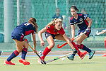 Mannheim, Germany, September 12: During the 1. Bundesliga women fieldhockey match between Mannheimer HC (blue) and Ruesselsheimer RK (red) on September 12, 2020 at Am Neckarkanal in Mannheim, Germany. Final score 2-0 (HT 1-0). (Copyright Dirk Markgraf / www.265-images.com) *** Clara Badia Bogner #9 of Mannheimer HC, Lucina van der Heyde #2 of Mannheimer HC