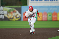 Auburn Doubledays Wilmer Perez (20) running the bases during a NY-Penn League game against the Connecticut Tigers on July 12, 2019 at Falcon Park in Auburn, New York.  Auburn defeated Connecticut 7-5.  (Mike Janes/Four Seam Images)