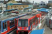 Elverson Road station on the Docklands Light Railway, Lewisham. London