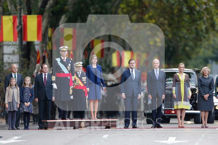 King Felipe VI of Spain, Princess Sofia of Spain, Princess Leonor of Spain, Queen Letizia of Spain, Mariano Rajoy, Manuela Carmena and Cristina Cifuentes during Spanish National Day military parade in Madrid, Spain. October 12, 2015. (ALTERPHOTOS/Pool)