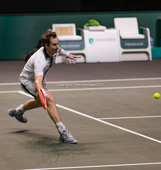 Rotterdam, The Netherlands, 28 Februari 2021, ABNAMRO World Tennis Tournament, Ahoy, First round match: Andy Murray (GBR).<br /> Photo: www.tennisimages.com