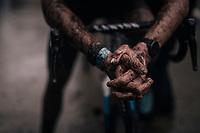 David van der Poels (NED/Alpecin-Fenix) muddy post race hands<br /> <br /> Men's Race at the X2O Herentals Cross 2020 (BEL)<br /> <br /> ©kramon