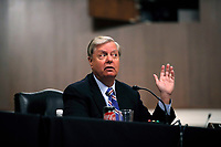 United States Senator Lindsey Graham (Republican of South  Carolina), Chairman, US Senate Judiciary Committee, speaks during a US Senate Judiciary Committee business meeting to consider authorization for subpoenas relating to the Crossfire Hurricane investigation, and other matters on Capitol Hill in Washington, Thursday, June 11, 2020. <br /> Credit: Carolyn Kaster / Pool via CNP/AdMedia
