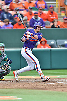 Clemson Tigers left fielder Seth Beer (28) swings at a pitch during a game against the Notre Dame Fighting Irish at Doug Kingsmore Stadium on March 11, 2017 in Clemson, South Carolina. The Tigers defeated the Fighting Irish 6-5. (Tony Farlow/Four Seam Images)