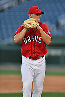 Pitcher Shaun Anderson (37) of the Greenville Drive at the team's first workout of the season on Tuesday, April 4, 2017, at Fluor Field at the West End in Greenville, South Carolina. (Tom Priddy/Four Seam Images)