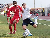 Nick Palodichuk kicks the ball. US Under-17 Men's National Team defeated United Arab Emirates 1-0 at Gateway International  Stadium in Ijebu-Ode, Nigeria on November 1, 2009.