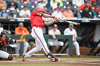 Louisville Cardinals third baseman Alex Binelas (13) swings the bat during Game 7 of the NCAA College World Series against the Auburn Tigers on June 18, 2019 at TD Ameritrade Park in Omaha, Nebraska. Louisville defeated Auburn 5-3. (Andrew Woolley/Four Seam Images)