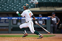 Christopher Barr (17) of the Miami Hurricanes starts down the first base line against the Georgia Tech Yellow Jackets during game one of the 2017 ACC Baseball Championship at Louisville Slugger Field on May 23, 2017 in Louisville, Kentucky. The Hurricanes walked-off the Yellow Jackets 6-5 in 13 innings. (Brian Westerholt/Four Seam Images)