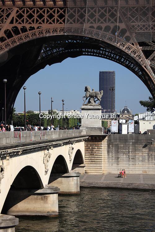 A closed up view of Pont d'Iéna Iena bridge with Eiffel Tower La tour eiffel in the background. City of Paris. Paris. France