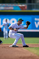 Augusta GreenJackets shortstop Shane Matheny (15) waits for a throw during a South Atlantic League game against the Lexington Legends on April 30, 2019 at SRP Park in Augusta, Georgia.  Augusta defeated Lexington 5-1.  (Mike Janes/Four Seam Images)