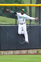 Chantz Mack #2 of the Clinton LumberKings makes a leaping grab at the left field wall against the West Michigan Whitecaps at Ashford University Field on July  25, 2014 in Clinton, Iowa. The Whitecaps won 9-0.   (Dennis Hubbard/Four Seam Images)