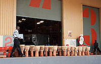 Djembes at the warehouse before distribution, Ghana, Africa.
