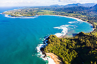 Aerial view of Lumahai and Hanalei Bay on the north shore of Kauai