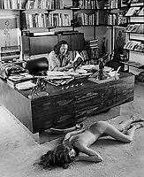 Artist Fritz Schoulder in his office with super-realist sculpture (foreground) by Richard Long, Scottsdale Arizona, 1977. Photo by John G. Zimmerman