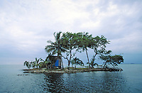 Hut on small Island near Placencia, Belize. Placencia, Belize Central America.
