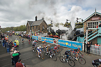 Picture by Allan McKenzie/SWpix.com - 01/05/2015 - Cycling - Tour de Yorkshire Stage 1 - Bridlington to Scarborough - Grosmont Station, Grosmont , England - The peloton is greeted by the steam engines.
