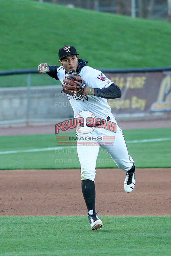 Wisconsin Timber Rattlers third baseman Jake Gatewood (2) throws to first during a Midwest League game against the Great Lakes Loons on April 26th, 2016 at Fox Cities Stadium in Appleton, Wisconsin.  Wisconsin defeated Great Lakes 4-3. (Brad Krause/Four Seam Images)