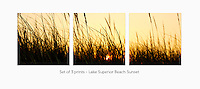 Display a print in a different way with this 3-image photo split of a summer sunset through beach grass on a Lake Superior beach.