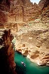 Kayaker, Havasu Creek, Grand Canyon National Park, Mile 157, Colorado River, Arizona, Southwest, USA.