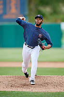 Syracuse Chiefs relief pitcher Jimmy Cordero (20) delivers a pitch during a game against the Lehigh Valley IronPigs on May 20, 2018 at NBT Bank Stadium in Syracuse, New York.  Lehigh Valley defeated Syracuse 5-2.  (Mike Janes/Four Seam Images)