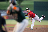 Kannapolis Intimidators relief pitcher Alex Katz (10) delivers a pitch to the plate against the Greensboro Grasshoppers at Intimidators Stadium on July 17, 2016 in Greensboro, North Carolina.  The Grasshoppers defeated the Intimidators 5-4 in game two of a double-header.  (Brian Westerholt/Four Seam Images)