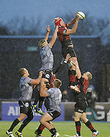 Mouritz Botha of Saracens secures the lineout ball during the Sanlam Private Investments Shield match between Saracens and the Cell C Sharks at Allianz Park on Saturday 25th January 2014 (Photo by Rob Munro)